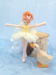 Yellow Fairy, Ballerina Fairy, Fairy Princess, Waldorf Doll, Handmade Fairy, Poseable Fairy Doll, Tutu, Tiara