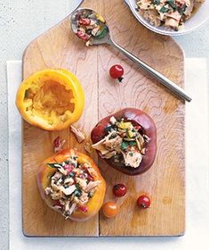Herbed Tuna in Tomatoes|This recipe is long on presentation, short on preparation time. Upgrade canned tuna by mixing it with capers, parsley, and lemon juice, and spooning into hollowed-out tomatoes. Try more recipes that use the pantry staple, tuna: