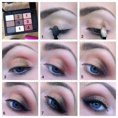 Golden makeup tutorial for blue eyes