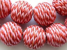 Bead something sweet with these Cotton Wrapped Beads - Red & Pink!! www.happymangobeads.com #love