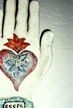 Beautiful sacred heart inspired wall hand