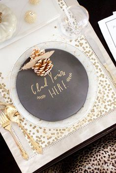 gold pinecone, feather, chalkboard art, gold dots + more Christmas Table Ideas table settings, holiday, idea, thanksgiv tabl, place set, thanksgiving table, christma, tabl set, parti