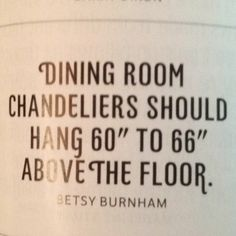 """Dining room chandelier should hang 60"""" to 66"""" above the floor."""