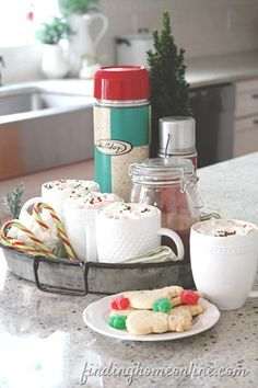 Christmas Hot Chocolate Station! Love the Thermos!