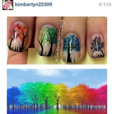 Colorful Trees tree nail, neon trees, color tree, nail arts, nail design, color nails, colour tree, nail art trees, art nails