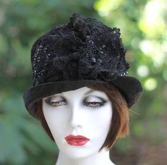 Edwardian Hat in Black Silk with Lace beads and by BuyGail on Etsy, $195.00