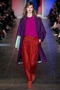 Shapely silhouettes and luxurious cashmere paired with perfectly matte skin and a deep matte fuchsia lip at Paul Smith's F/W 2013 show. (Vogue.com UK)