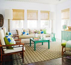 Bright pops of color bring personality to an otherwise neutral living room: http://www.bhg.com/rooms/living-room/makeovers/living-room-makeovers/?socsrc=bhgpin080114lightenedup&page=2
