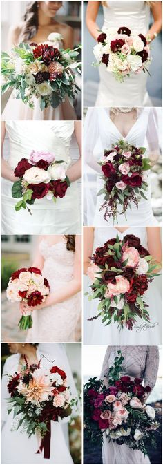 #WeddingBouquet » 16 Elegant Burgundy and Blush Wedding Bouquet Ideas #OctoberWeddingIdeas #BurgundyWeddingIdeas