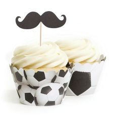 Soccer Mustache Topper & Wrapper Kit