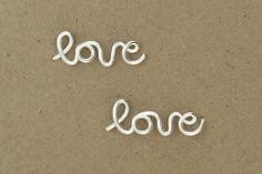 Love Earrings : Sterling Silver Plated Love Stud Earrings, Cartilage, Pair, Word, Handwritten, Cursive, Affirmation, Ear Cuff