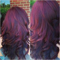 hair colors, 2 tone hair color, red hair, winter colors, violet, hair beauty, fall hair, red highlights, dream hair
