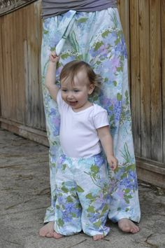 pj pants for baby and me from bed sheets - so easy and comfy