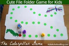 Simple game to make for kids inspired by The Very Hungry Caterpillar book!  File Folder Game: Fun Caterpillar Game folder games for kids, kid activities, caterpillar game, preschool games to make, preschool file folder games, board games, hungry caterpillar, hungri caterpillar, file folders
