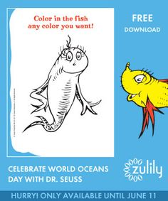 Fun! #zulily has a special #pinables page of Dr. Seuss activities to print for World Oceans Day. Available 'til Monday, 6/11!