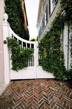 Charleston gate-- herringbone brick