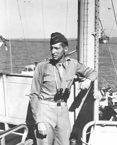 Gen. Mark Clark, commander of US Fifth Army, aboard USS Ancon, off Salerno, Italy, 12 Sep 1943 (US National Archives)
