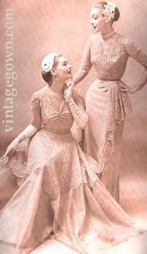 Imported Chantilly was advertised as delicate and fragile in the 1950's.  Is it any wonder that 50 years later these gowns still survive?  Mother of the Bride dresses in pale rose or steeldust blue-your choice, DuBarry, circa 1953.  Hats by John Fredericks
