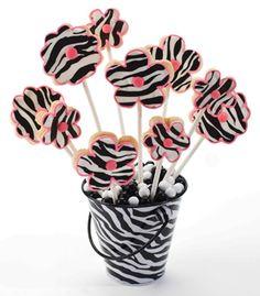 Zebra Flower Cookies
