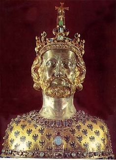 Charlemagne, a figure of great splendor,  who became the model for Kings and Emperors. Charlemagne (742 - 814), also known as Charles the Great or Charles I, was the King of the Franks from 768, the King of Italy from 774, and from 800 the first emperor in western Europe since the collapse of the Western Roman Empire three centuries earlier. The expanded Frankish state he founded is called the Carolingian Empire.
