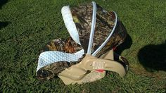 mossy oak camo and baby blue carseat over by BowsFromAbove on Etsy, $75.00