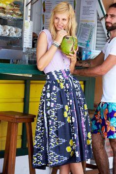 Kamala Woven Ikat Cotton Skirt