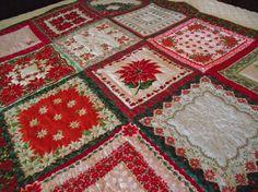 beautiful Christmas hankie quilt
