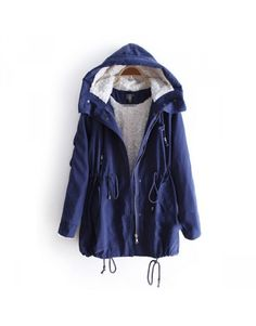Drawstring Trench Coat Hooded