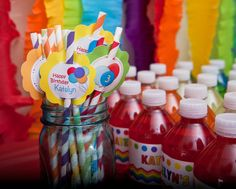 Rainbow Balloon Party Drinks and Straws