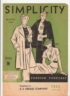 Simplicity Fashion Forecast, March 1935 featuring NRA patterns 1653 and 1664
