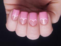 Heart cutouts nail tips, heart nails, bridal nails, french manicures, pink nails, nail arts, valentine nails, finger nails, nail ideas