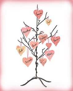 Give them a Valentine Centerpiece!  Celebrating Home has a wonderful item called a Gratitude Tree... I just love this idea! It is made to tie little thoughts of gratitude to as a home dec piece.    Why not turn it into a living Valentine this year!? Rummage through your craft drawers and pull out any scraps of different pink and red papers, cut out paper hearts of various sizes and write the names of those who you hold dear! Then tie them to your Gratitude Tree! What a beautiful expression of love this Valentine's Day for all to see! Now, let's see who can get the most hearts on their tree!! Let me know!  www.doretta.mycelebratinghome.com
