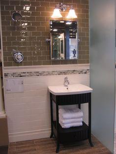 "Transitional bath with ""wood look"" porcalain tile floor and glass subway."