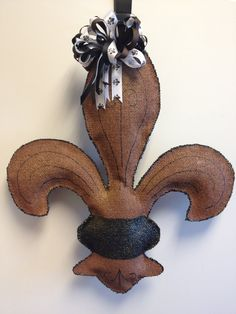 Fleur de lis Burlap Door Hanger by ILoveItDesigns on Etsy, $25.00