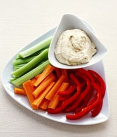 Snack on healthy nibbles such as vegetable crudites - Drop A Dress Size Before Christmas! http://www.dailymail.co.uk/femail/article-2241894/DASH-diet-Its-late-drop-dress-size-Christmas.html#