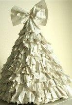 Karácsonyfa újságpapírból kézzel készült, készült ajándékok, karácsonyfa újságpapírból