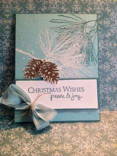 Christmas Card using Wintery Pines...details @Ramblingrosestudio.com by Billie Moan