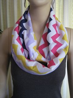 Multicolored Rainbow Chevron jersey knit Infinity Loop Scarf  by ChevronScarf