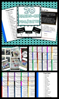 """This product includes 20 hands-on, engaging projects that encourage higher-level thinking!  20 individualized rubrics are included!  You won't hear your students saying """"ugh... another essay?!"""" anymore! $"""