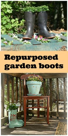 repurposed garden boots