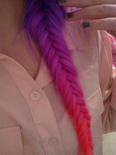 purple hair, hair colors, colored hair, colorful hair, ombre hair, plait, fishtail braids, rainbow, dip dye