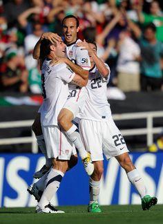 Love soccer celebrations - Carlos Bocanegra, Landon Donovan, and Alejandro Bedoya, USA nat'l team, Gold Cup 2011