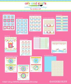 Anders Ruff art party: polka dot arts and crafts birthday party printables pack