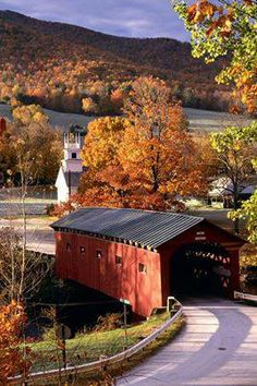 cover bridg, country roads, barn, new england, autumn