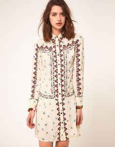 Boho chic embroidered shirt dress
