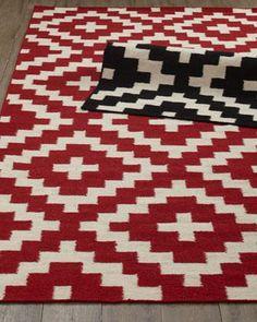 Red + White flatweave rug