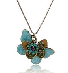 antique blue butterfly crystal necklace