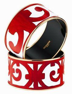 Hermès Balcons du Guadalquivir enamal cuff in red and gold