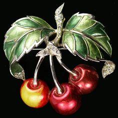 MB Boucher Metallic Enamel Cherries on a Branch Pin