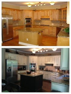 My dream kitchen makeover; Before and after (Faux to Finish); Painted maple cabinets antique white/almond; added light rail at the bottom and rope crown moulding at the top; chocolate brown pen glaze; walls are Sherwin Williams Mexican Sand